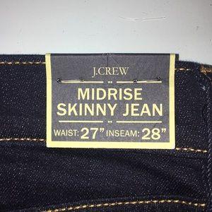 J. Crew Midrise Skinny Jean 27/28